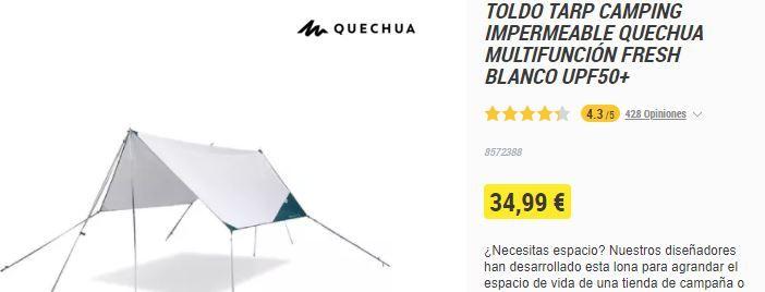 TOLDOA KANPINA Tarp Camping Quechua Fresh Blanco UPF50 irudia - iragarkilaburrak.eus