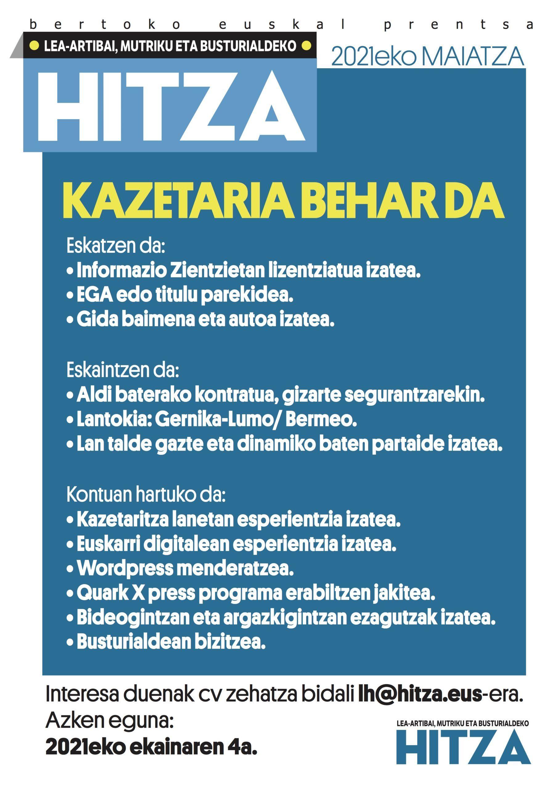 Kazetaria behar da Lea-Artibai, Mutriku eta Busturialdeko Hitzan irudia - iragarkilaburrak.eus