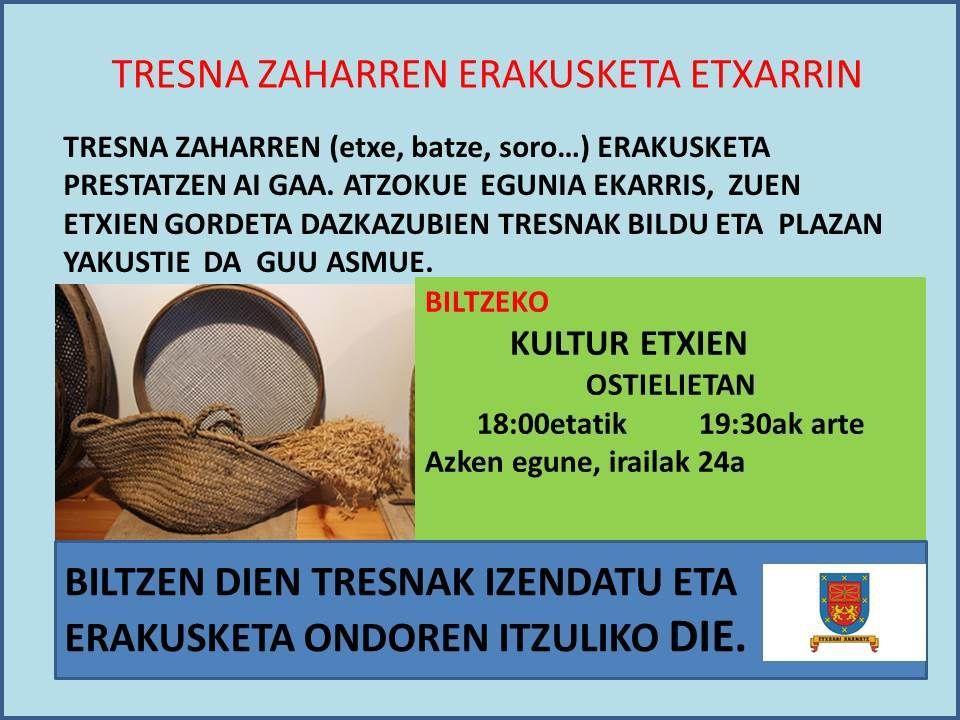 Etxarri Aranatzen tresna zaharren bilketa irudia - iragarkilaburrak.eus